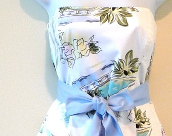 Strapless Dress - Romantic - Resort - Holiday - Cruise - 50s Style Fashion - White Tropical - Recycled - Wedding - Garden Party- UNIQUE