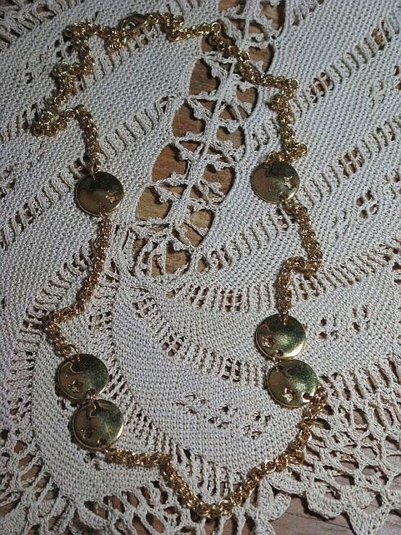 CLEARANCE SALE - Vintage Gold Tone Stars Necklace (N-3-1)
