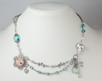 Steampunk Necklace Vintage Rose Gold Omega Watch with Silver Filigree Flower, Leaf, Dragonfly & Pearl, Blue Opal Crystal Statement Jewelry