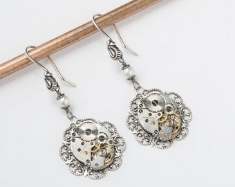 Steampunk Dangle Earrings with Vintage watch movements on Victorian silver flower filigree drop accented with genuine pearl wedding Gift