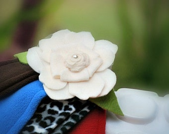 Ivory Red & Green Ear Warmer Headband. Cozy Warm Head Piece, Elegant Couture Statement, Rosette Rose Winter Holiday, Preteen Teen Woman Gift