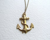 Brass anchor pendant necklace on antiqued gold metal chain, handmade