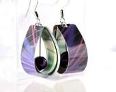 Purple dangle earrings // Paper jewelry
