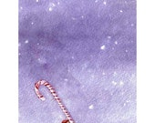 Christmas Greeting Card - Gnome Elf Candy Cane Christmas Card - Watercolor Card - Candy Cane Gnome