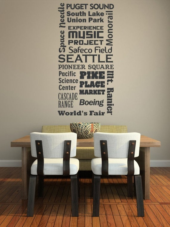 Seattle Wall Art seattle decal seattle wall art dorm decor man cave decor