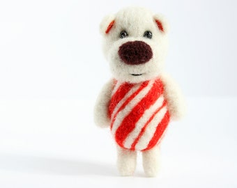 Candy cane felted pocket bear - made to order