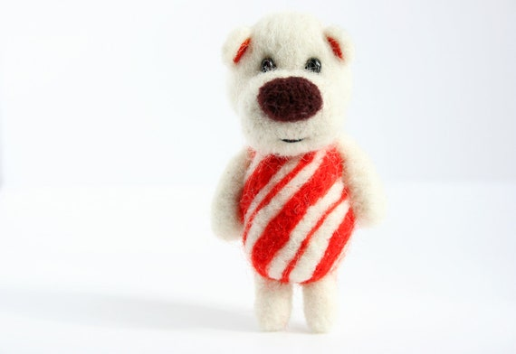 Made to order - Christmas candy cane felted pocket bear
