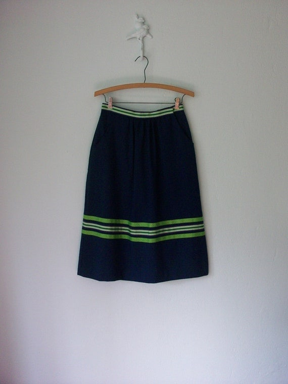 Vintage Ribbon Skirt // Preppy 80s Navy Blue A-line Midi // Medium