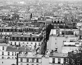 Black and White Paris Photography, Rooftops of Paris Print, French Architecture Art, Paris Office Decor