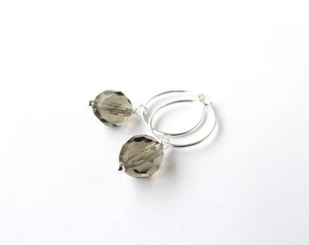 Small silver earrings minimalist hoop earrings grey glass bead pendant hoop earrings