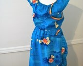 Vintage 70s 80s blue tropics dress - sz Large - FREE worldwide shipping