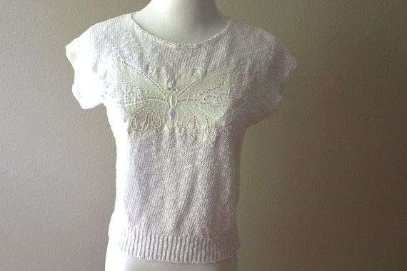 SALE vintage butterfly top // white knit  SMALL