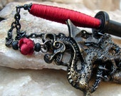 Hair Sword - Hair Stick Black with Crimson Red Silk and Dragon Charms - Qiang