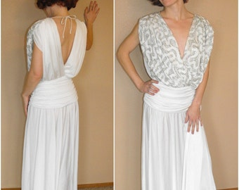 Old Hollywood Gown 80s Retro Dress Vintage White Sequin Draped Formal XS S