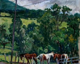 Berkshires Farm, Horses. Realist Oil Painting Landscape on Canvas, 14x14 Plein Air Impressionist Painting, Signed Original Equine Fine Art
