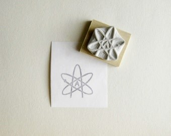 Atheist Symbol Hand Carved Rubber Stamp