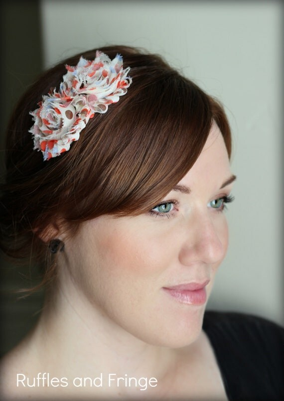 Adult Headband in Autumn Polka Dot, Shabby Chic Flower for Girls and Women