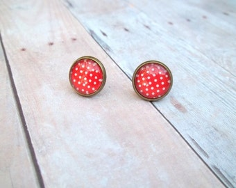 S C A R L E T - Scarlet Red and White Polka Dot, Photo Glass Cab, Antique Bronze Stud Earrings, 12mm