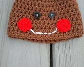 Crochet Gingerbread Hat (Sizes 0-6 Months) Gingerbread Boy Beanie Hat- Newborn Baby Gingerbread Hat- Photo Prop