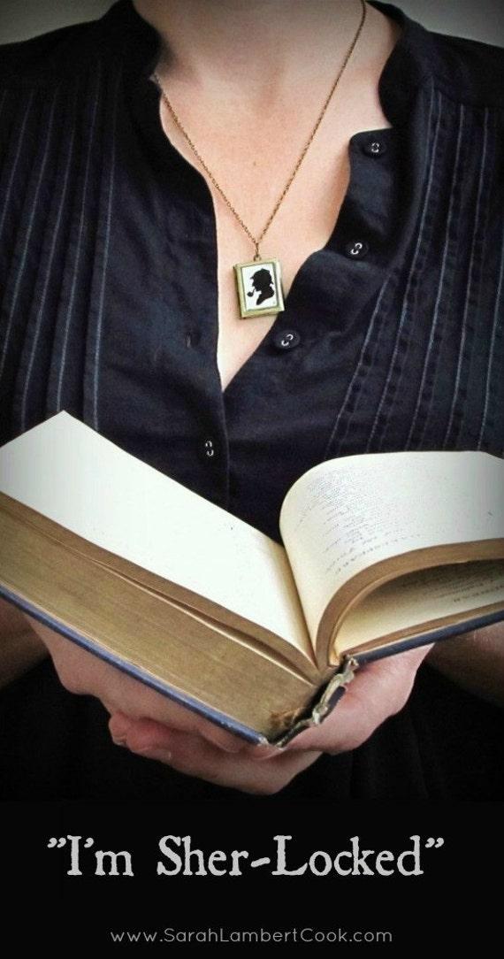 Sher-Locked Sherlock Holmes locket -- RETIRING JUNE 6 -- book locket, gift for reader, literature book jewelry