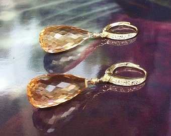 Morganite Earrings - Gold Pave Leverbacks. Luxury jewelry