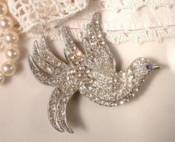 RESERVED 1920s Brooch OR Haircomb, Large Art Deco Pave Rhinestone Dove, TRUE Vintage Bridal Brooch or Comb