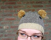 Bear Hat, Hand Knitted Animal Hat, Pom Pom Bear Beanie, Animal Costume, Halloween, Childrens Hat, Fall Fashion - Brown, Taupe, Black Buttons