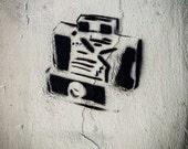 Fine Art Photography, Graffiti Stencil, Camera Art, Street Photo, Austin Texas, Urban Photography, Print , Black and White, Home Wall Decor