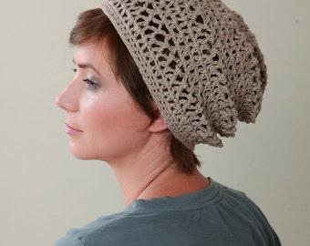 Crochet Hat Pattern for The Original and Oversized Hemp Open-Stitch Beanie