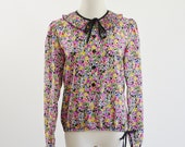 Vintage Sheer Blouse -- Floral Ruffle Long Sleeve Pullover Top -- Medium