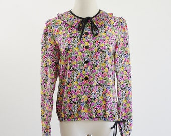 Vintage Sheer Blouse, Floral Shirt, Long Sleeve Pullover Top, Ruffle Neckline with Drawstring Collar, Spring Flower Print, Medium, Bust 38