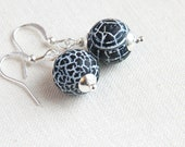 indigo Dangle Earrings, Natural Stone Earrings, Sterling Silver, Modern Earrings, Everyday Jewelry, Black Blue Gray Agate, Frosted Stone