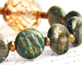 Exquisite Rare Green Dragon Jasper Bracelet Natural Stone Bracelet Faceted Czech Crystal Tribal Inspired Bohemian Jewelry Gift for woman