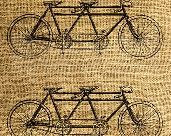INSTANT DOWNLOAD Vintage Tandem Bicycle - Download and Print - Image Iron On Transfer - Digital Collage Sheet by Room29 - Sheet no. 696