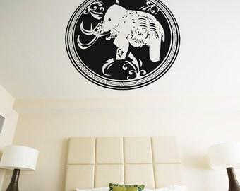 Vinyl Wall Decal Sticker Arabic Elephant Circle Design OSAA344B