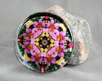 Pink Lily Glass Paperweight Mandala Boho Chic New Age Sacred Geometry Hippie Kaleidoscope Gypsy Mod Unique Boss Gift Teacher Gift Bella