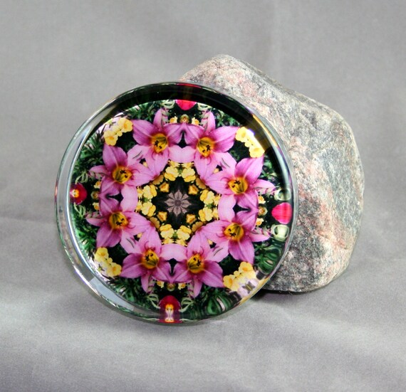 Pink Lily Glass Paperweight Mandala Boho Chic New Age Sacred Geometry Hippie Kaleidoscope Gypsy Mod Unique Boss Gift Teacher Gift Bella