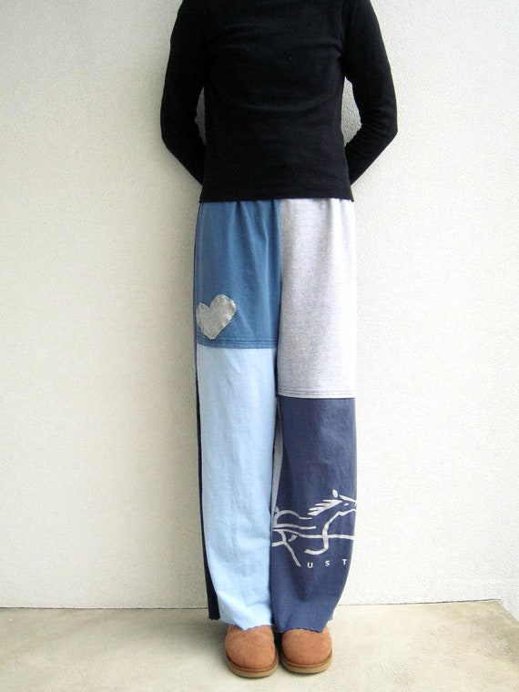 T Shirt Pants for Her / Gray Navy Blue / Recycled / Upcycled / L - XL / Soft / Cotton / Drawstring / Fun / by ohzie