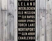 SMALL Michigan Subway Art, Traverse City Poster, Michigan Art, Subway Sign, Bus Scroll, Cottage Decor, Wall Art. Canvas or Wood. 12 x 36