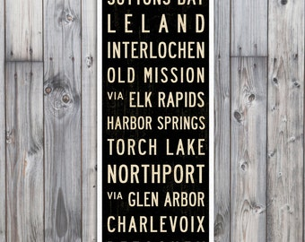 SMALL Michigan Art, Subway Sign, Traverse City Poster, Subway Art, Bus Scroll, Cottage Decor, Wall Art. Travel Art. 12 x 36