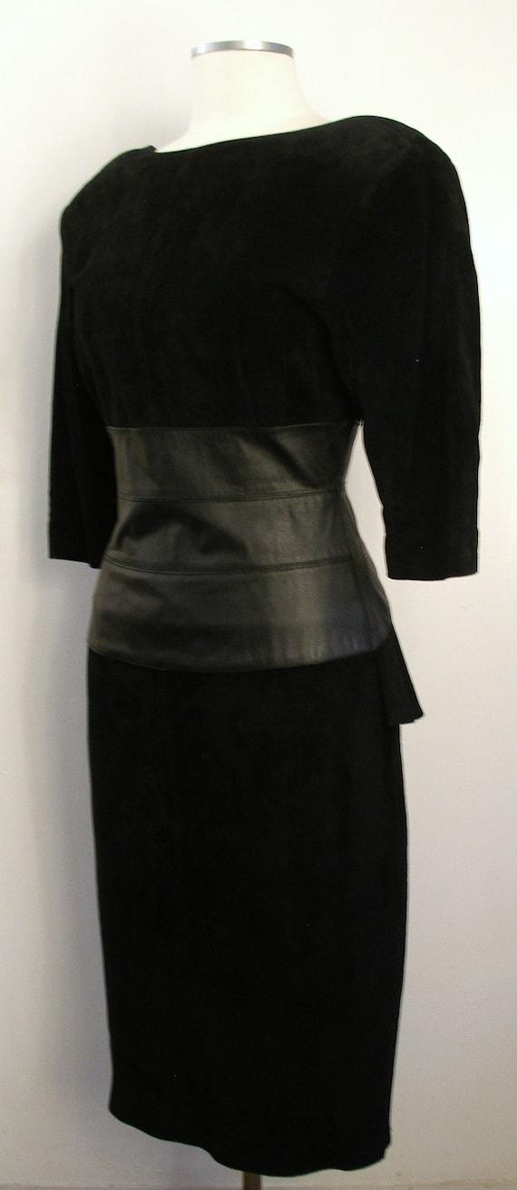 Christmas in July SALE: Vintage Black Suede Peplum Dress - Backless Wiggle Dress w Leather Panel CIJ SALE