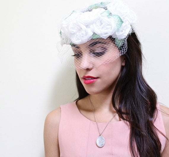Vintage White Netted Fascinator - Floral Bridal Hat With Leaves / Wedding Accessory
