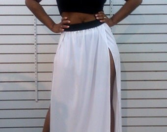 Double Side Slit Maxi Skirt White