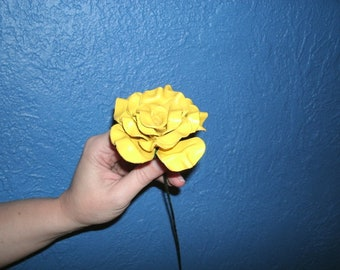 Sculpted yellow leather rose