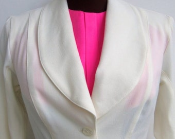 Vintage 60s Dickey Faux Blouse Hot Pink Linen with Placket