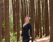Wrap Maxi Dress in Black or Rich Olive Bamboo Knit - Made to Order - Gift for Her - Spring - Sizes XS, S, M, L, XL - Eco Friendly - Yoga