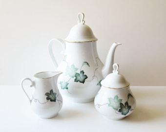 Vohenstrauss Mid Century Coffeepot Set - Johann Seltmann Bavaria Germany - Vintage Teapot Creamer And Covered Sugar Set - Drinkware Tea Set