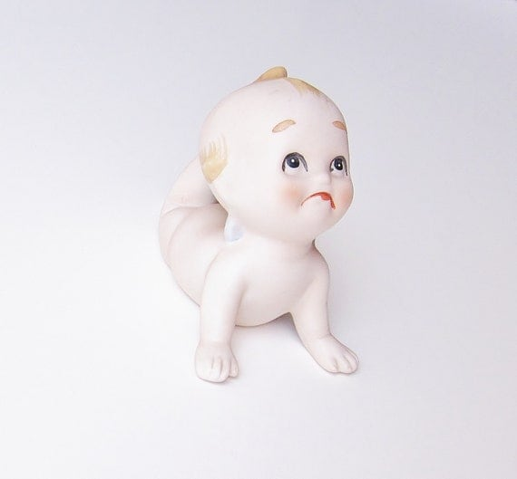 Kewpie Doll Piano Baby Vintage Action Figurine Kitsch Decor Crawling Baby Blue Wings