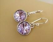 Violet Purple, Sterling Silver Earrings- Swarovski Rivoli Round Crystal Drop