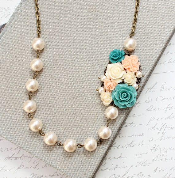 Statement Necklace, Asymmetrical Flower Pendant, Teal Rose, Cream Ivory Pearls, OOAK Handmade Jewellery, Floral Accessories Vintage Style